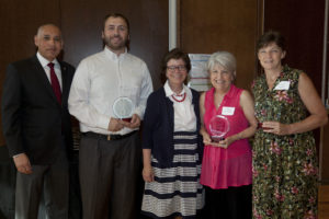 l-r, Vice Chancellor Bazzell, Bret Huisenga, Chancellor Blank, Tracy Schroepfer, Valerie Timler
